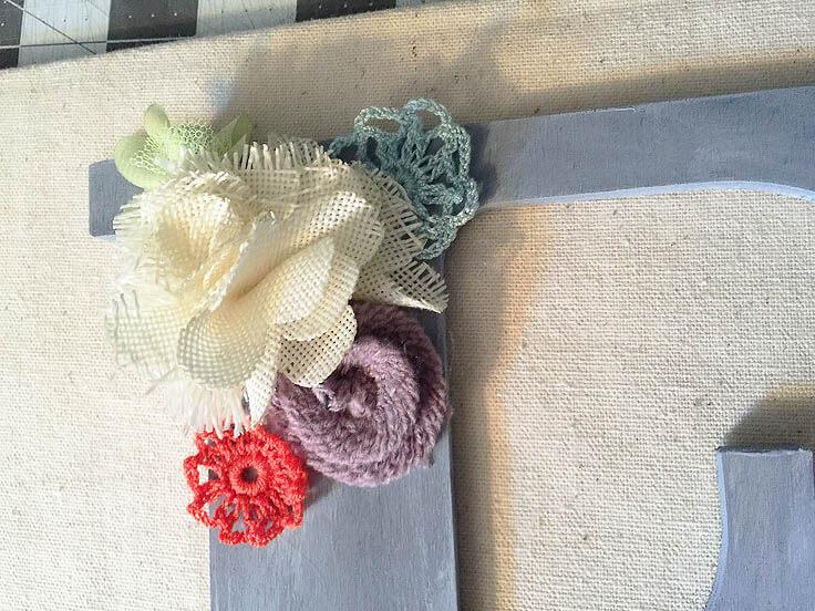 DIY shadow box initial art with fabric flowers
