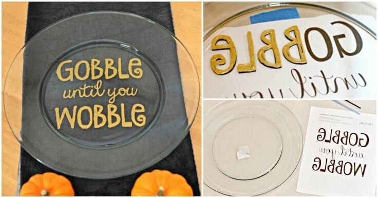"""Need a DIY Thanksgiving gift idea? Make a Hand painted Thanksgiving Platter that says """"Gobble Until You Wobble"""" using a big plate and gold enamel craft paint."""