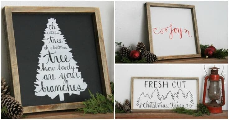 holiday home decor signs and free printable gift - Christmas Decor Signs