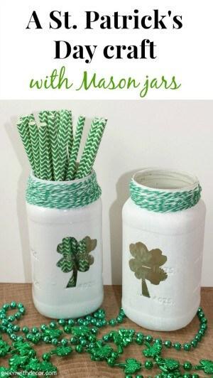 A St. Patrick's Day craft with Mason jars