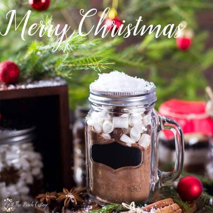 Yummy hot chocolate mix in a mason jar with a chalk board label
