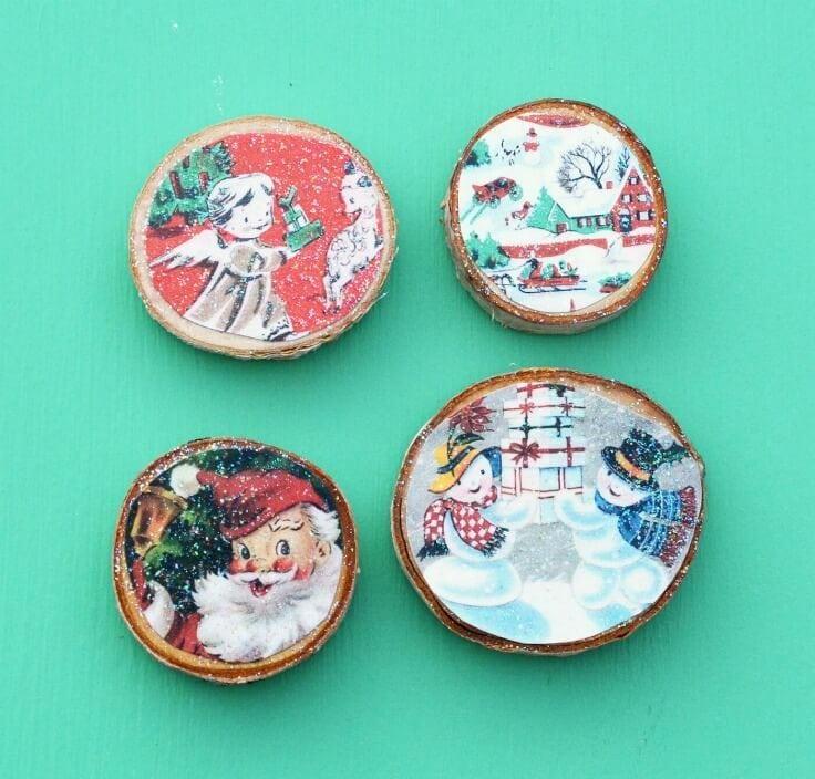 Wood Slice Vintage Christmas Card Magnets – Mod Podge Rocks featured on Kenarry.com