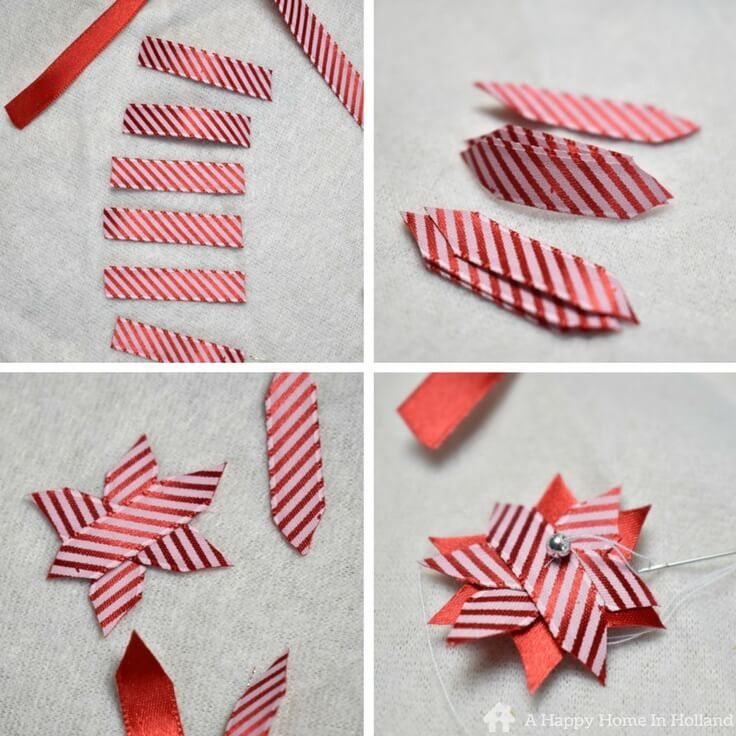 Ribbon stars - DIY craft tutorial showing how to make these cute little candy stripe stars.