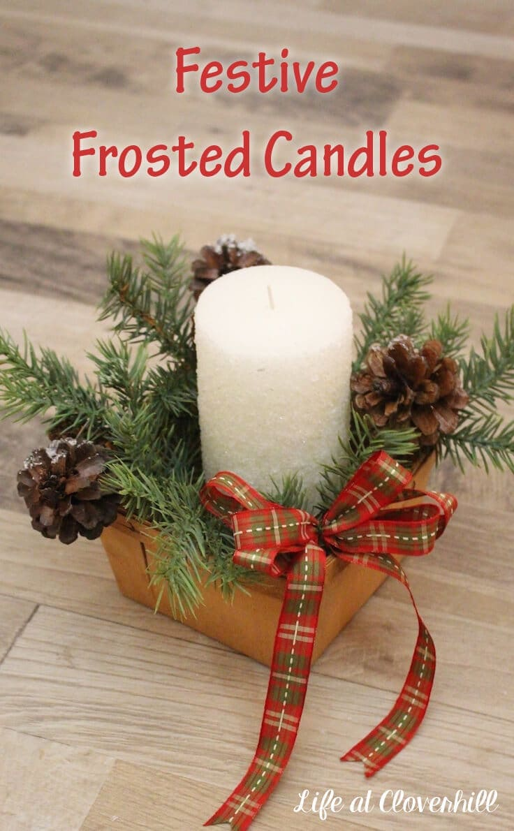 Create Festive Frosted Candles. It only takes a few minutes to transform a regular pillar candle into a luxe sparkly frosted candle for your holiday display or as a gift.