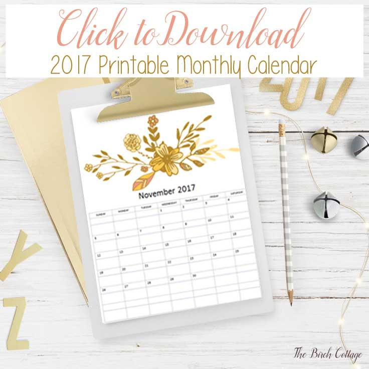 2017 Printable Calendar from The Birch Cottage