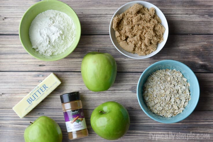 All the ingredients for easy apple crisp