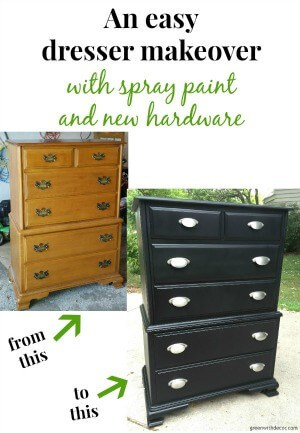 How to makeover a dresser with spray paint and new hardware