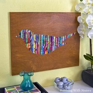 Magazine Strip Bird Wall Art
