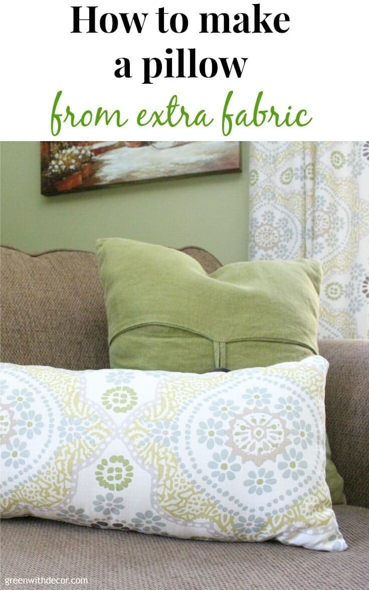 How to make a pillow from extra fabric. What a great idea instead of throwing fabric away. You can never have enough throw pillows!