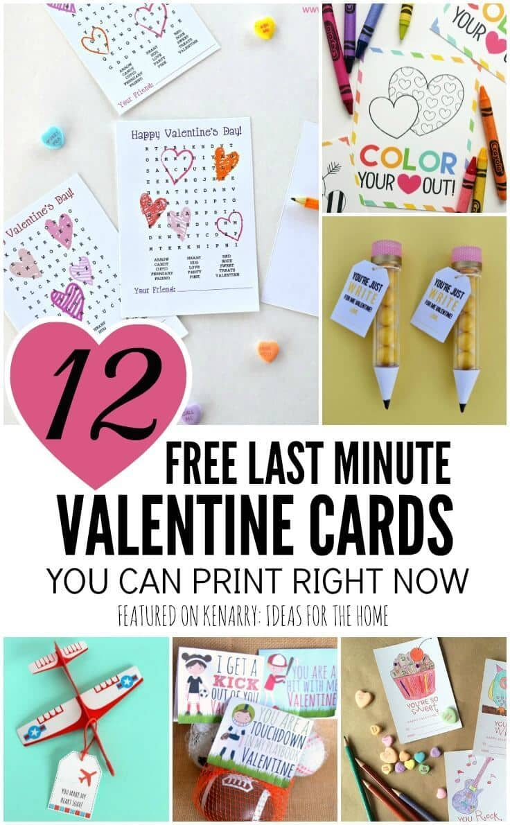 What a lifesaver! These free printable valentines are available to download now if you need to print cards at the last minute for your child to take for the Valentine's Day party at school.