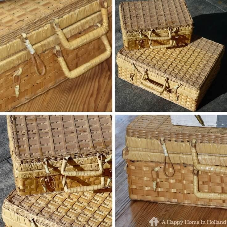 How to upcycle an old wicker basket - easy makeover idea to bring you old picnic baskets right up to date and create a perfect storage solution