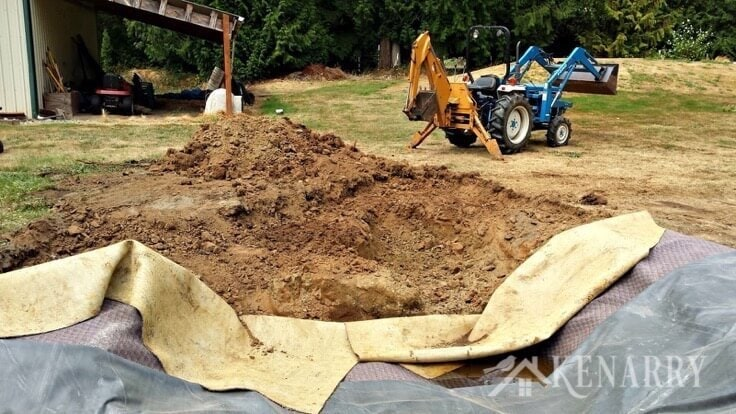 Digging up a back yard to make a waterfall and pond
