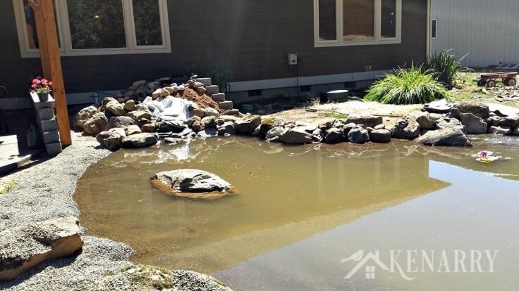 A DIY pond and waterfall