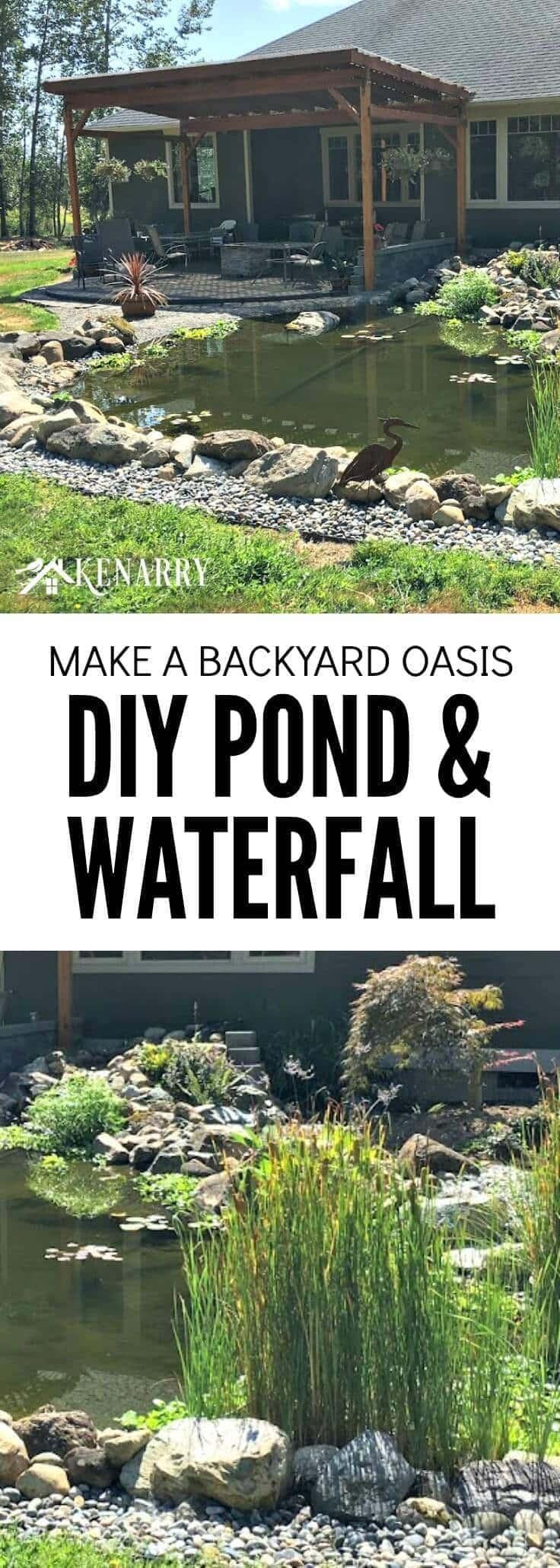 Make a backyard oasis DIY pond and waterfall