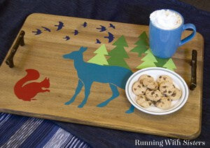 Stencil a tray with woodland critters.