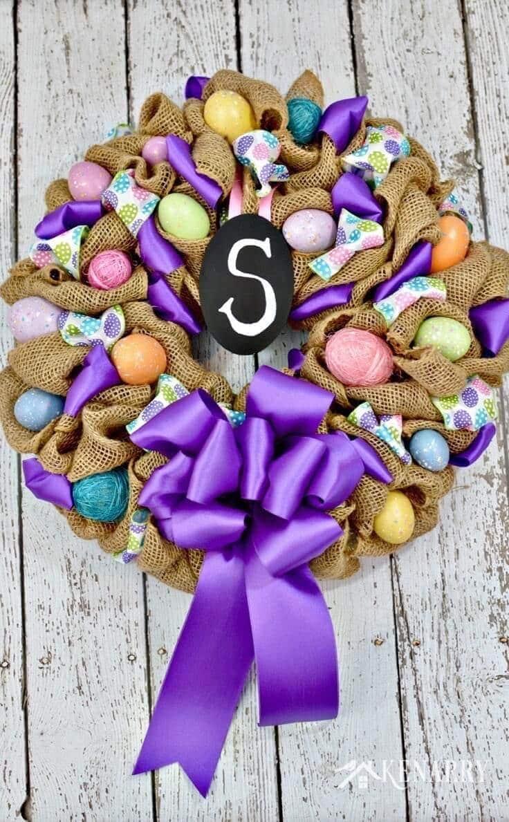 Easy burlap Easter wreath tutorial