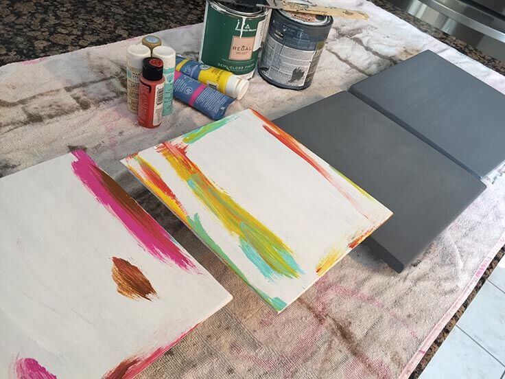 painting wood for DIY wood clip frames
