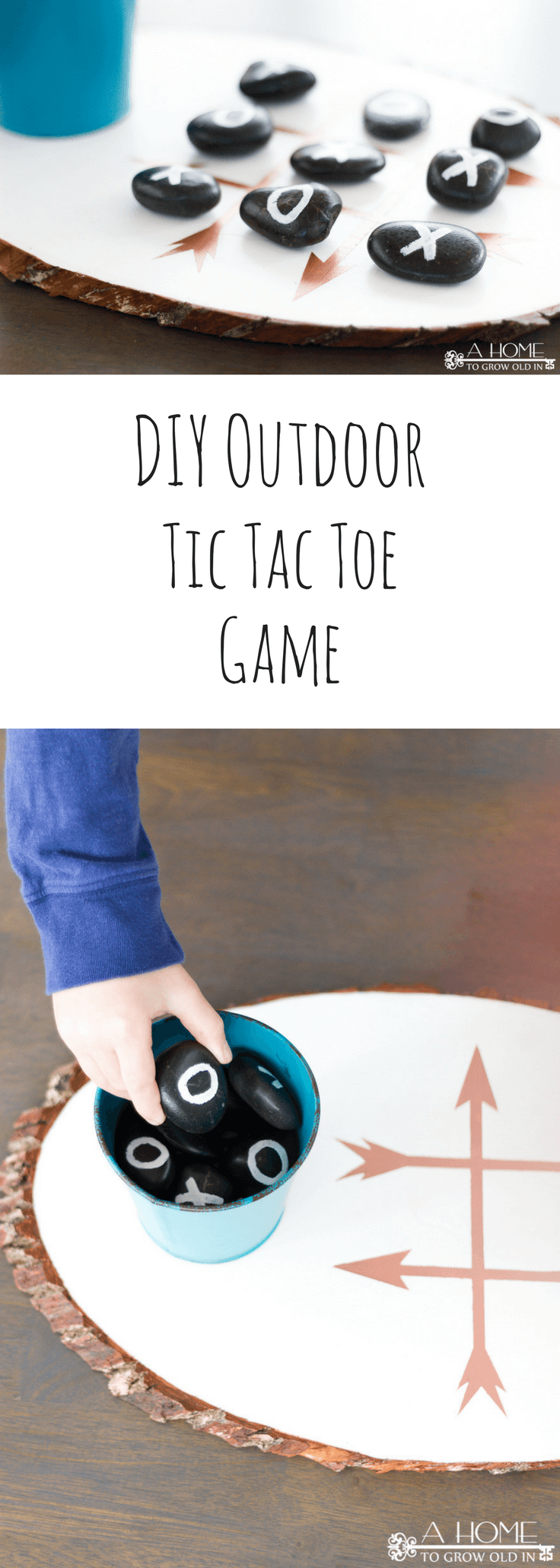 This DIY outdoor tic tac toe board is so easy to make and a really fun game to add to your outdoor game collection.