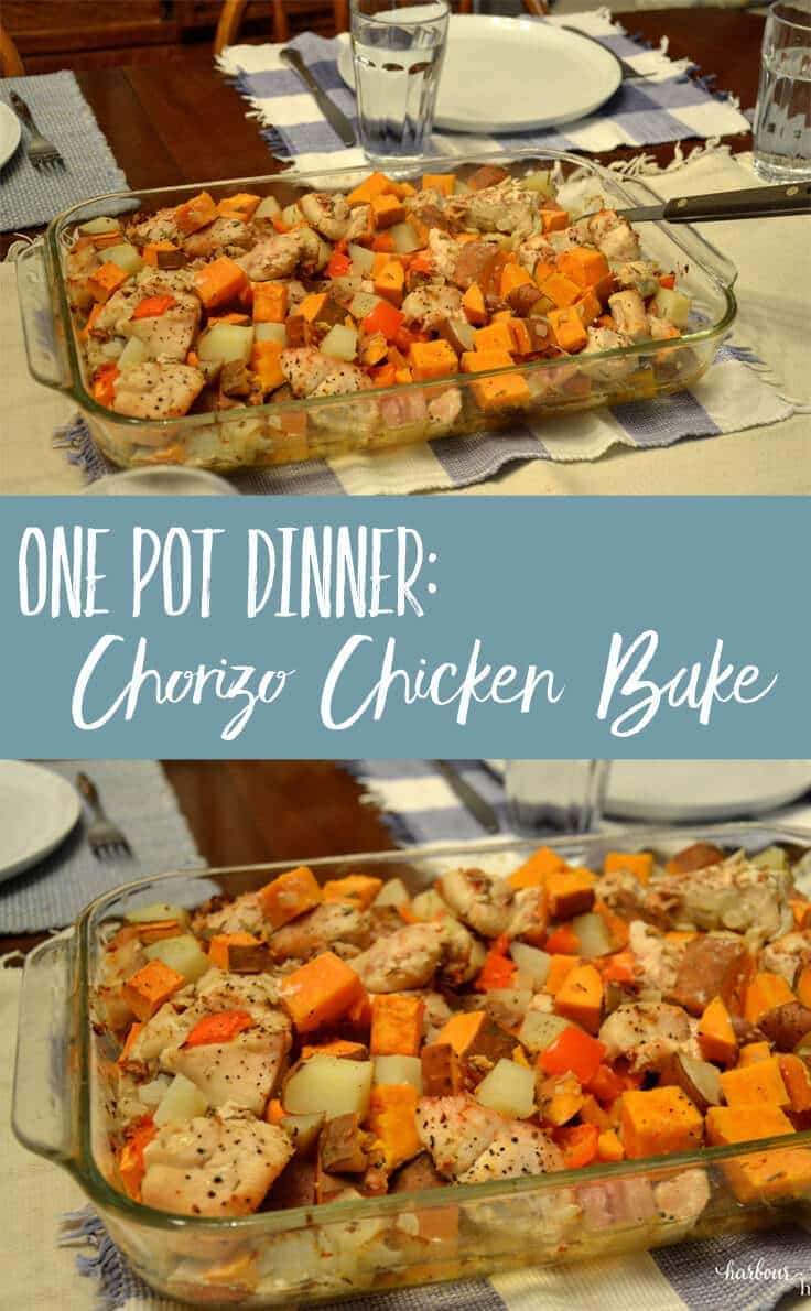 ONE POT MEAL: Chicken Chorizo Bake is quick to prepare, hearty, & healthy. It's an easy weeknight meal solution that the whole family will love.