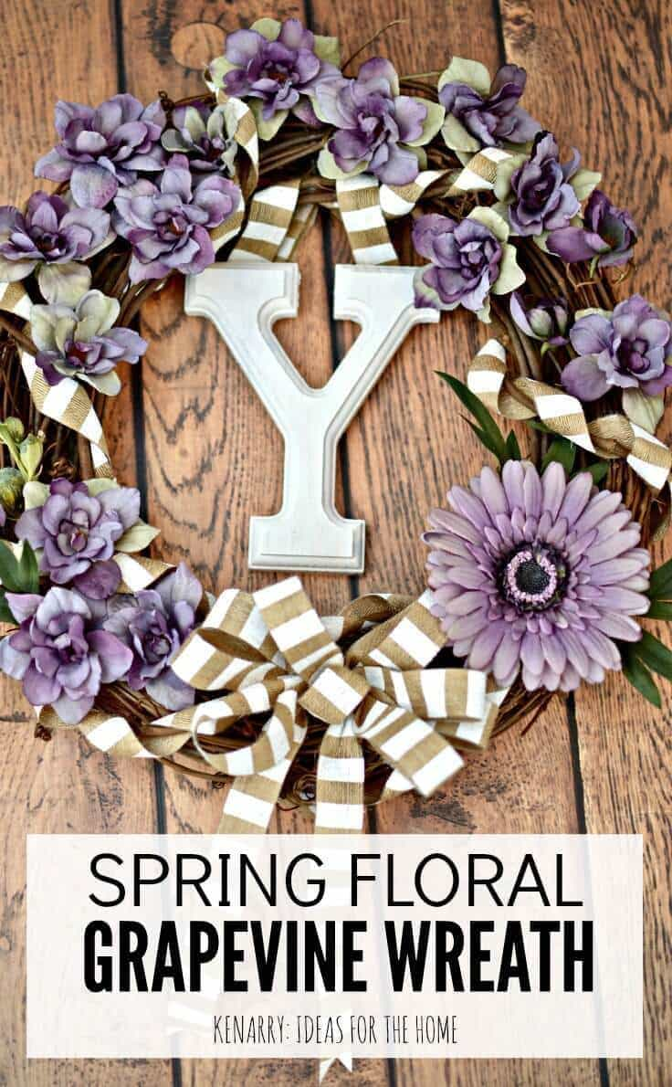 Love the idea of a floral grapevine wreath for spring! With all the purple flowers, it would be such an easy craft to make for Easter or to use as home decor all season long.