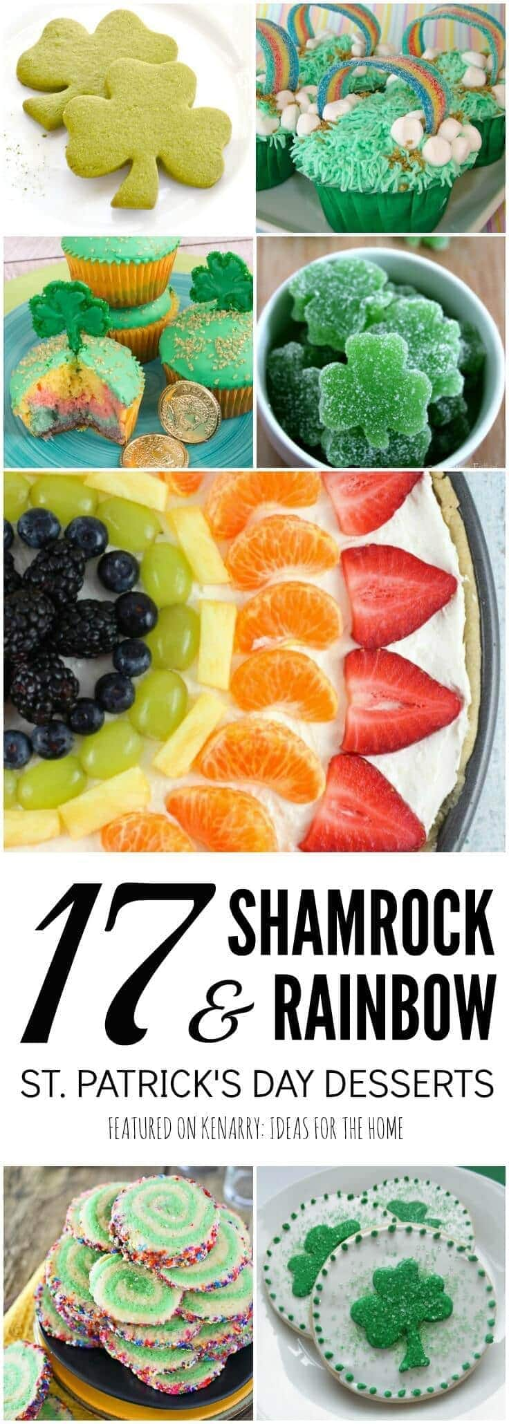 What fun shamrock and rainbow ideas for St. Patrick's Day desserts! These would be great treats to make for a party, potluck or just a special green snack for the kids.