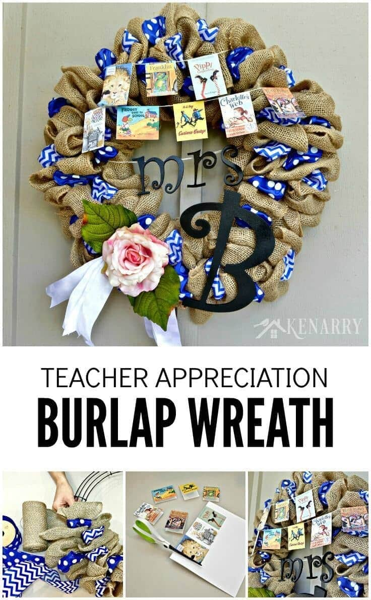 A Teacher Appreciation Burlap Wreath is an easy craft idea to make for thank hard working educators for back to school, end of school or Christmas. This decor is a fun to make and perfect for teachers, librarians and book lovers.