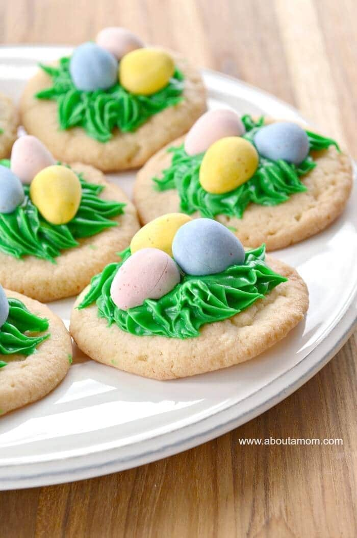 Bird's Nest Sugar Cookies - About a Mom - Easter Desserts featured on Kenarry.com