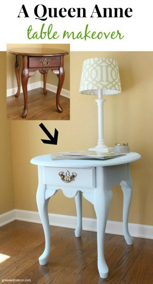 http://www.greenwithdecor.com/queen-anne-table-makeover-clay-paint/