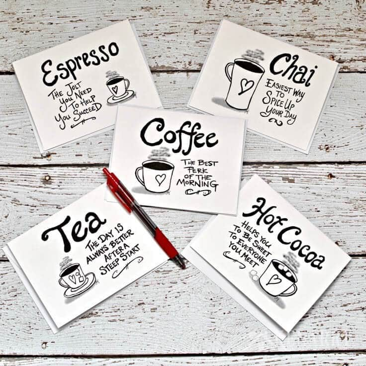 Digital printable coffee note cards are blank inside and showcase your favorite hot beverage with a cute original quote on the outside. Print a bunch at home and wrap them up as a gift for friends, hostesses, Mother's Day, Christmas, birthdays or teacher appreciation.