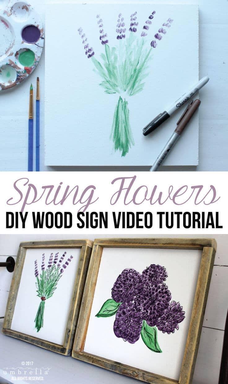 DIY Spring Flowers Wood Sign Video Tutorial
