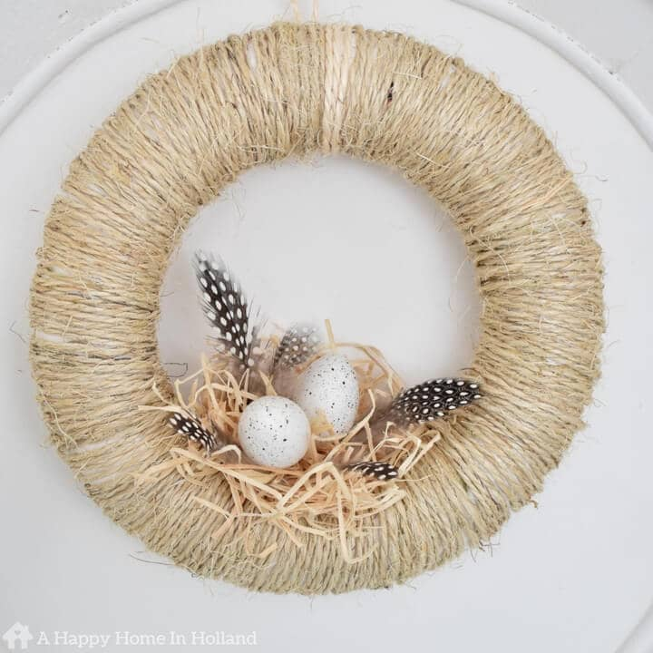 DIY Spring Wreath Idea - Learn how to make this simple and stylish bird's nest wreath in a few easy steps