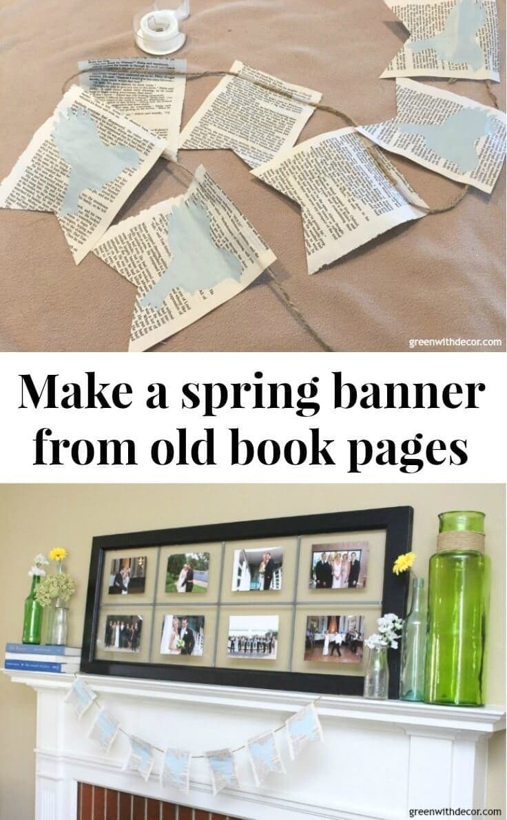 How to make a spring banner from old book pages kenarry for How to make an old book