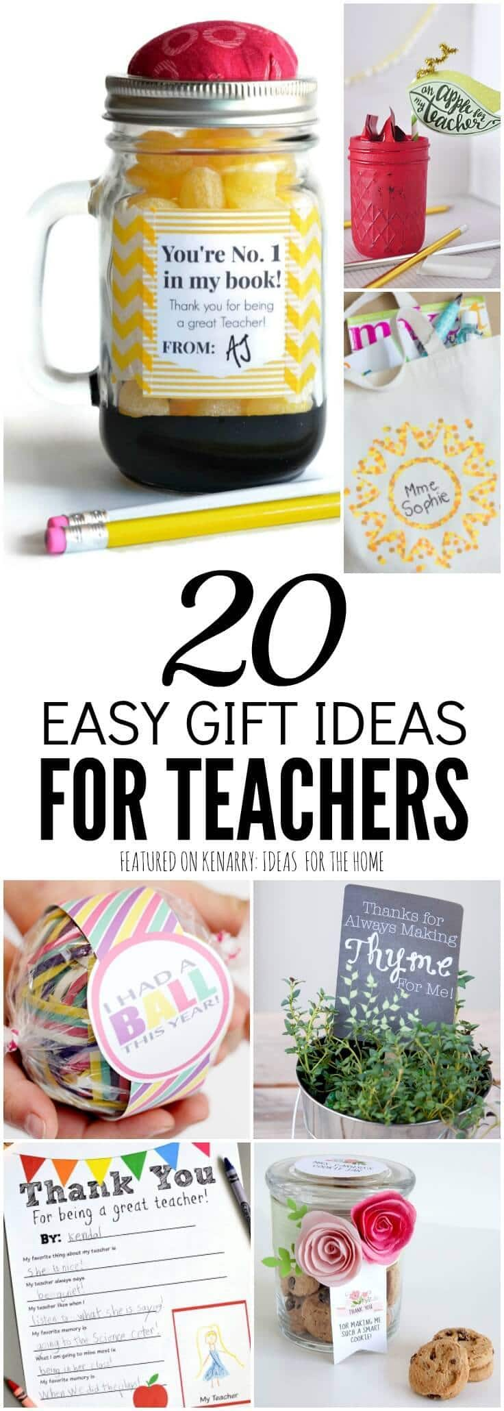 These crafts and free printables are clever and unique teacher gift ideas for Teacher Appreciation Week, back to school, end of the school year, birthdays or Christmas.
