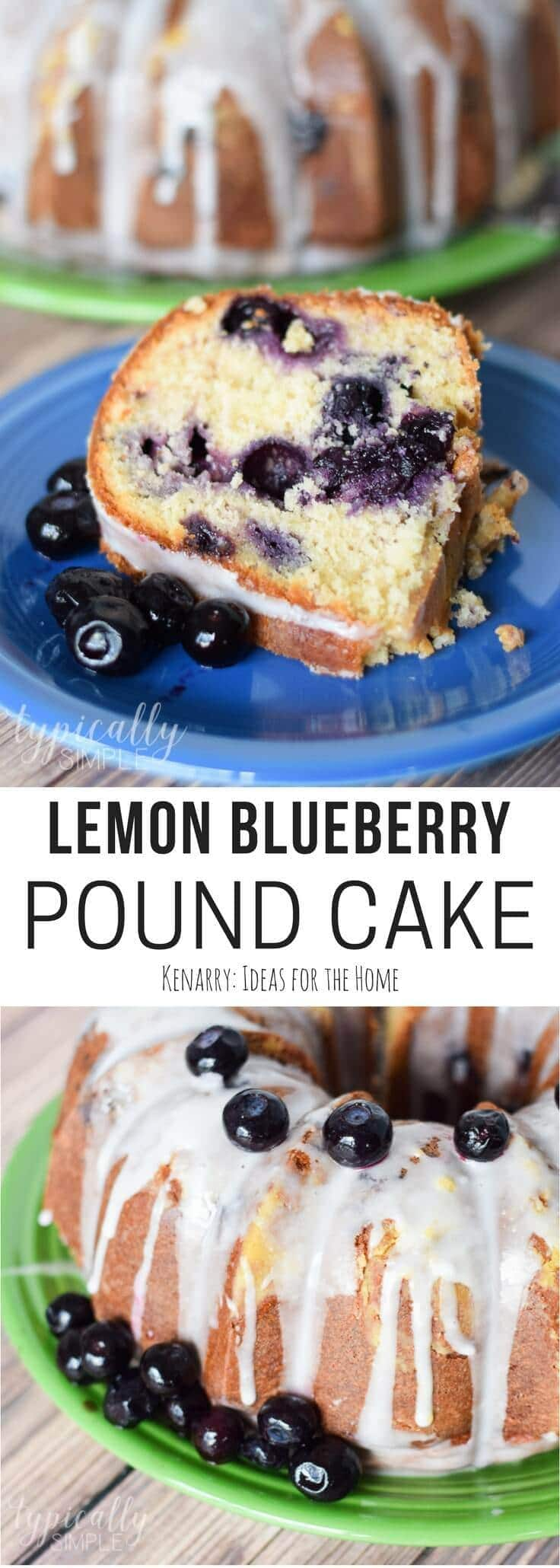 slice of lemon blueberry pound cake on a plate with a bundt cake in the background