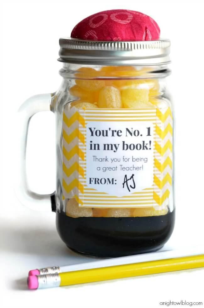 Pencil Mason Jar Teacher Appreciation Gifts – A Night Owl - Teacher Gift Ideas featured on Kenarry.com