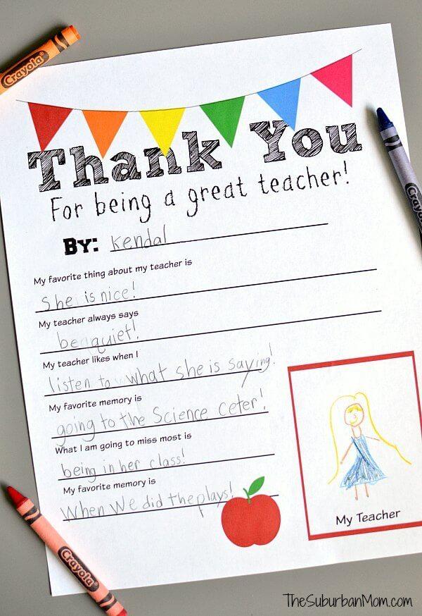 Thank You Teacher Free Printable – The Suburban Mom - Teacher Gift Ideas featured on Kenarry.com