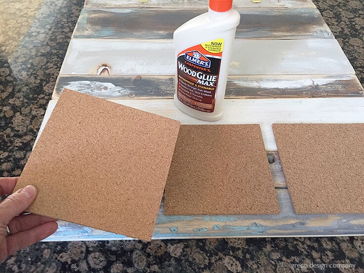 Woodglue Max and cork board squares for a DIY shiplap command center