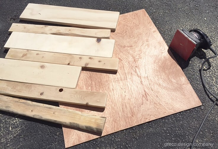 wood pieces for a DIY shiplap command center