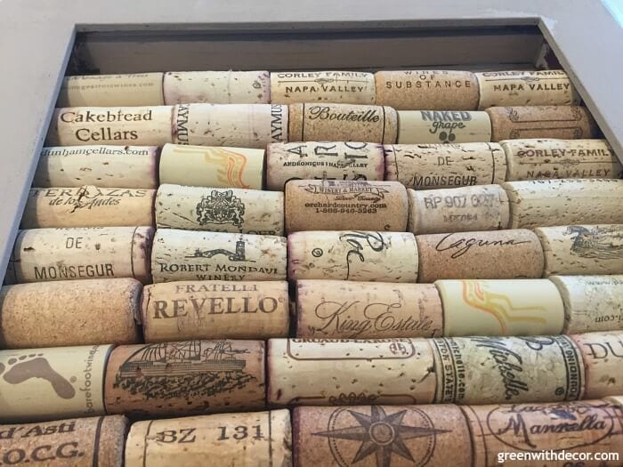 A close up of wine corks.