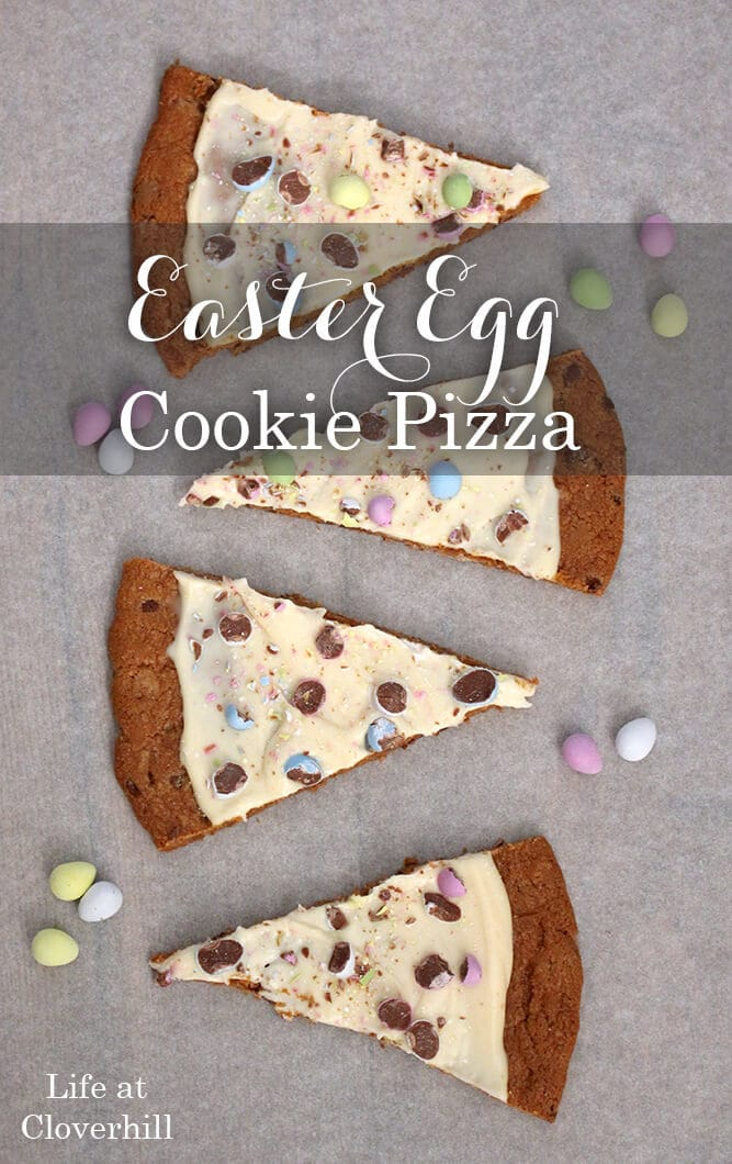 graphic for an Easter egg cookie pizza