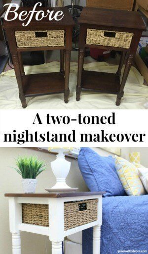A two-toned nightstand makeover