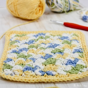 Learn to crochet the textured stitch dishcloth from The Birch Cottage