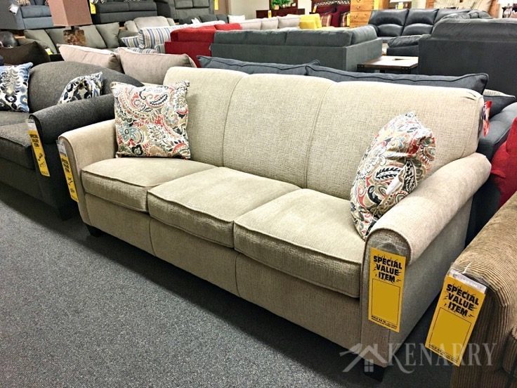 Couch from England Furniture selected for new sunroom addition on a renovated cottage