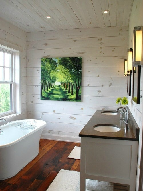 Rustic Bathroom Renovation with White Washed Plank Walls from Kate Davidson Design, Inc.