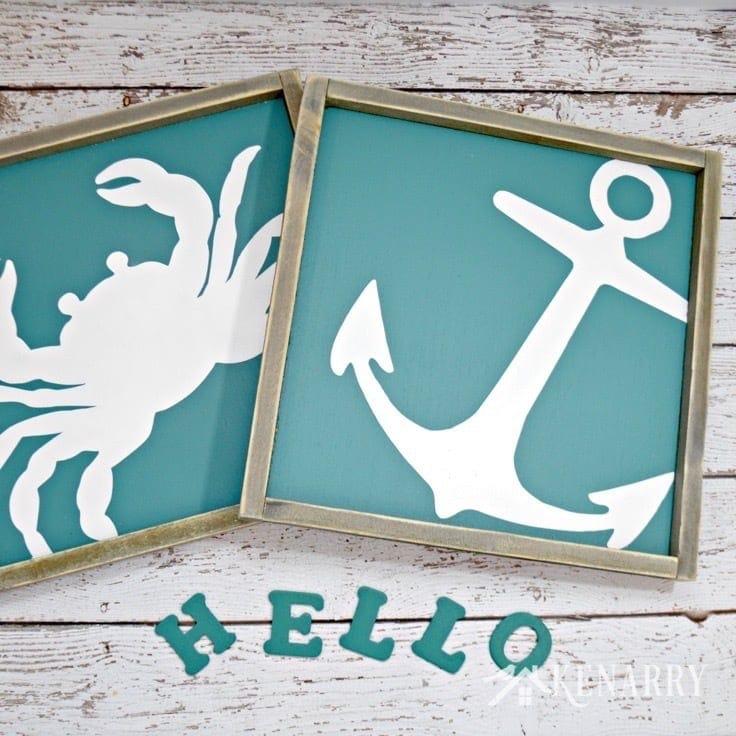 A printed crab and anchor
