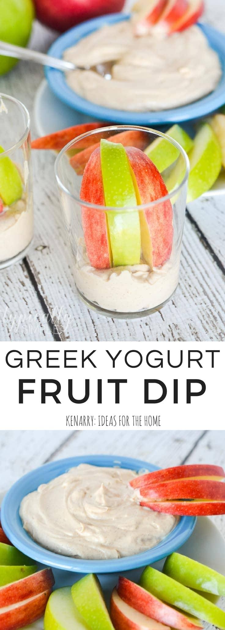 greek yogurt fruit dip served with apples