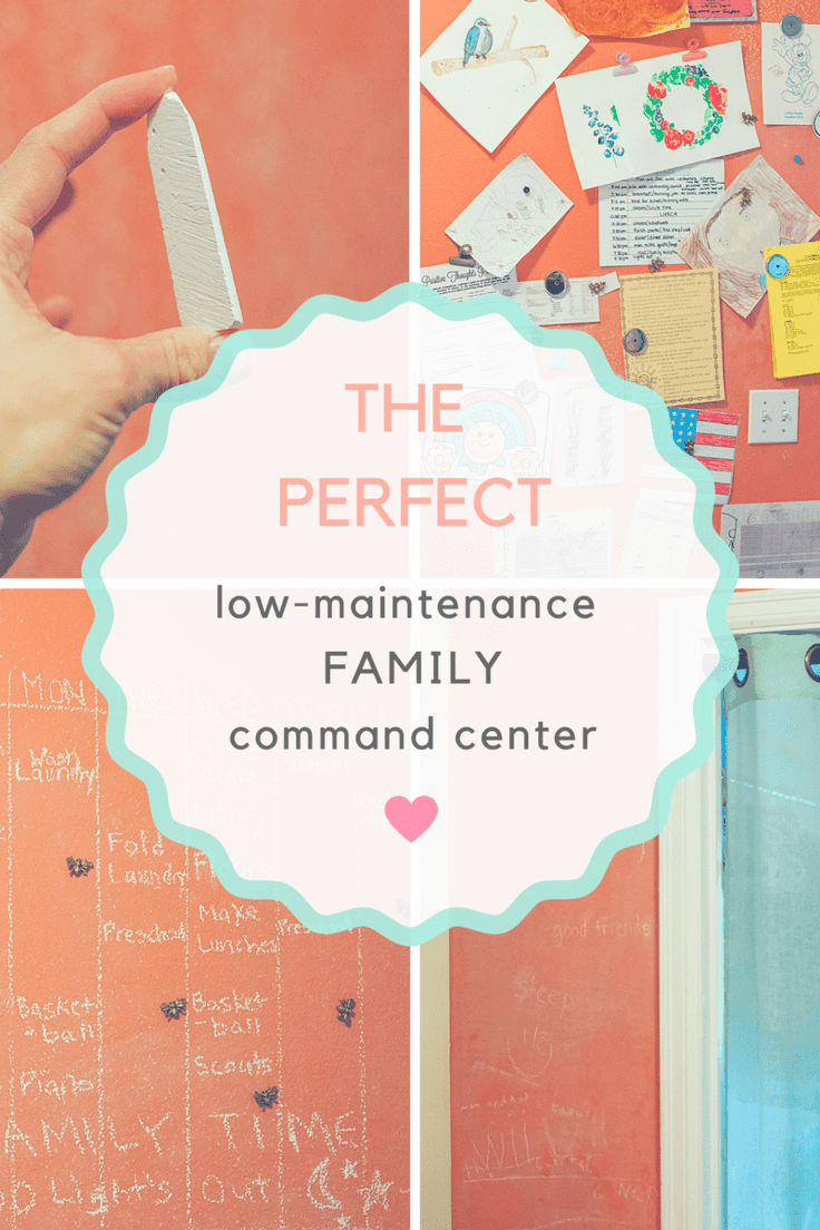 The Perfect low-maintenance family command center. How to make a magnetic chalkboard wall.