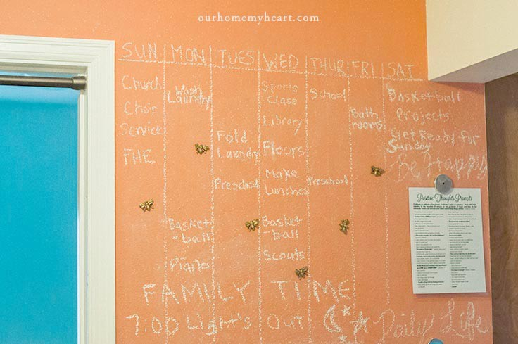 The perfect low-maintenance family command center. A custom magnetic chalkboard wall.