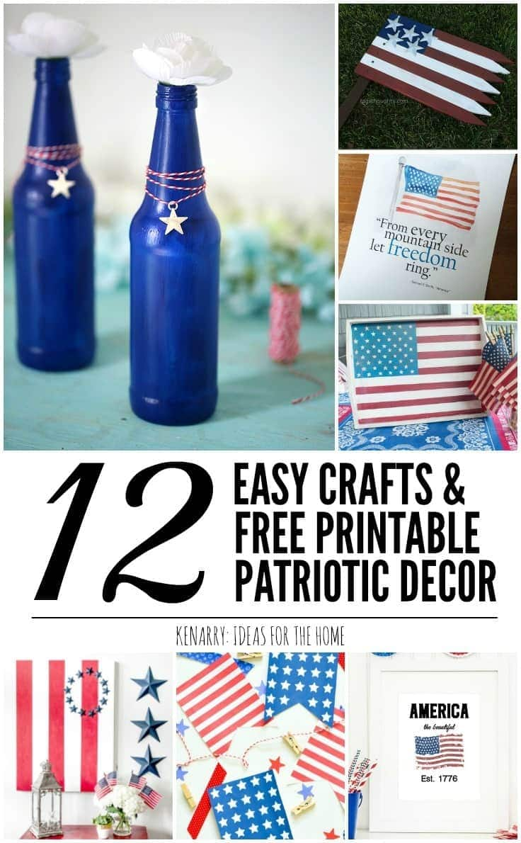 These 12 patriotic decor ideas are perfect for 4th of July or as home decor for Memorial Day, Labor Day and Veteran's Day too! These easy crafts and free printables will help you quickly turn your home into a star-spangled sensation!