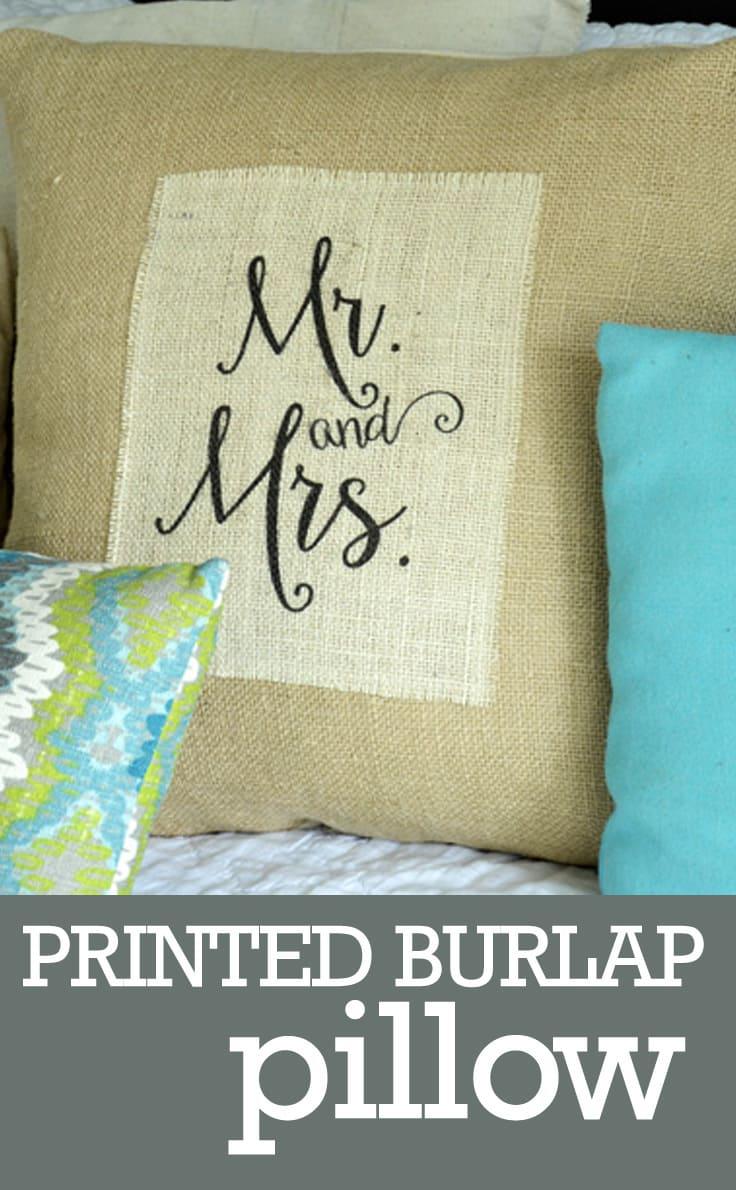 A printed burlap Mr. an Mrs. Pillow